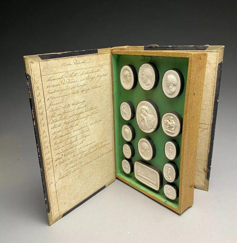 1830's Paoletti Impronte Musei Diversi Book Of Grand Tour Plaster Cameos