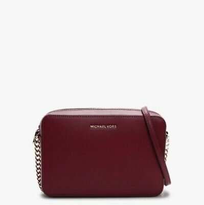 Michael Kors MK Jet Set Large EW Saffiano Crossbody Bag Berry Brand New