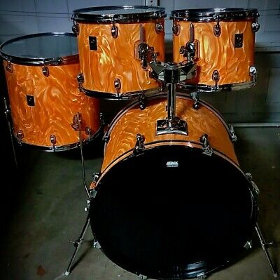Premier-APK-Limited Edition(1997)-Marmalade Satin Flame-4 Drum-Shell Pack-RARE