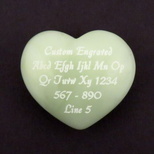 New Jade Stone Puff Heart 40x35mm or 1.5 inches - Custom Engraved