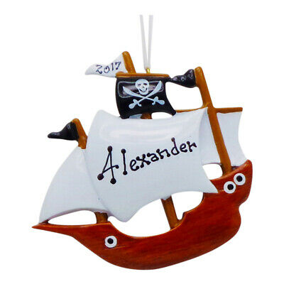 NAME PERSONALIZED Pirate Ship First Christmas Tree Ornament Holiday Gift ()