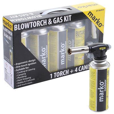Marko Blow Torch Butane Flamethrower Burner Welding 4Gas Auto Ignition soldering