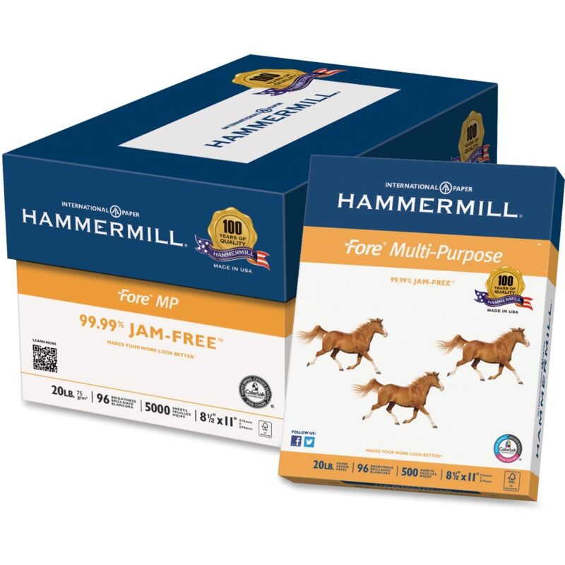 "Hammermill Multipurpose Paper 20lb 8-1/2""x11"" 96 GE/112 IOS 500/RM WE 103267RM"