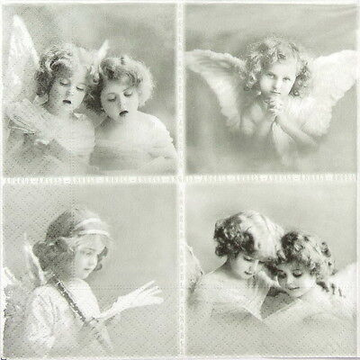 4x Paper Napkins for Decoupage, Decopatch Sagen - Vintage Small Angels