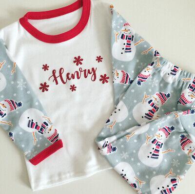 Personalised Christmas Snowman Pyjamas - Baby's First Xmas Pj's - Cute Design!