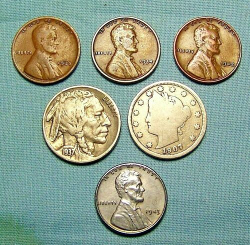 Lot of Old US Coins Buffalo, Liberty Nickel,Steel Cent with 3 WHEAT  LINCOLNS