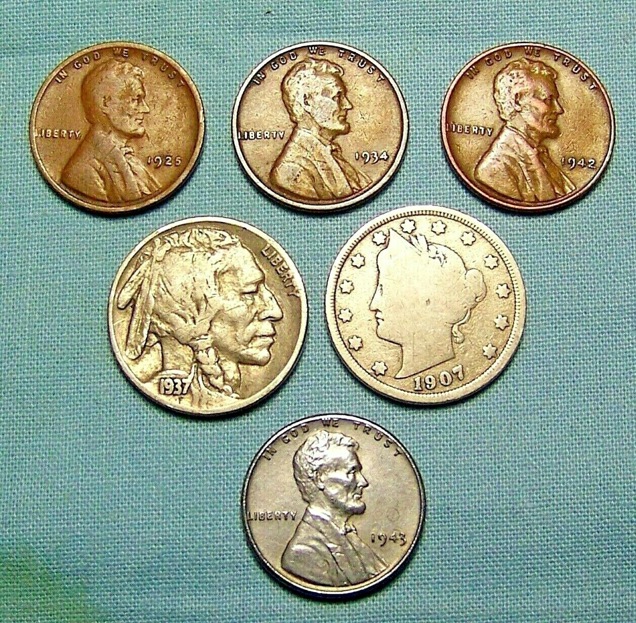Best  LOT OF OLD US COINS BUFFALO, LIBERTY NICKEL,STEEL CENT WITH 3 WHEAT  LINCOLNS