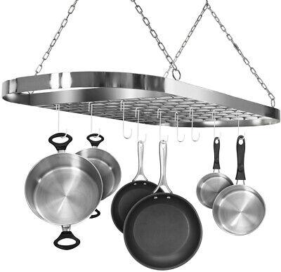 Chrome Ceiling Pot & Pan Rack W  Hooks Decorative Oval Mounted Kitchen Chrome Oval Pot Rack