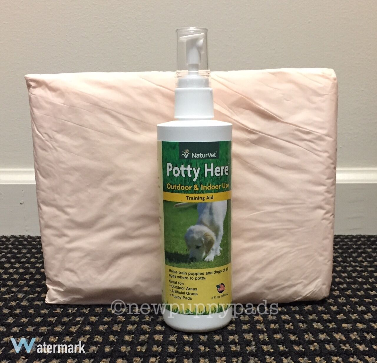NaturVet Potty Here Dog Puppy Training Aid Spray for puppy pee pads 8oz FREE PAD