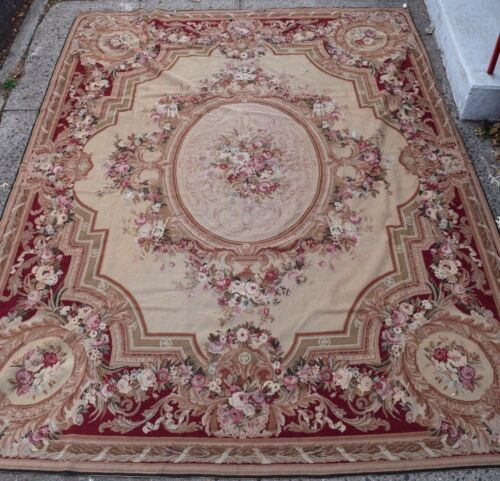 Fine Antique Needlepoint Tapestry Abusson Rug