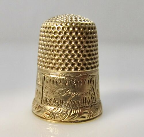 VINTAGE ANTIQUE 14K YELLOW GOLD THIMBLE ENGRAVED SCENE HOUSES CASTLE