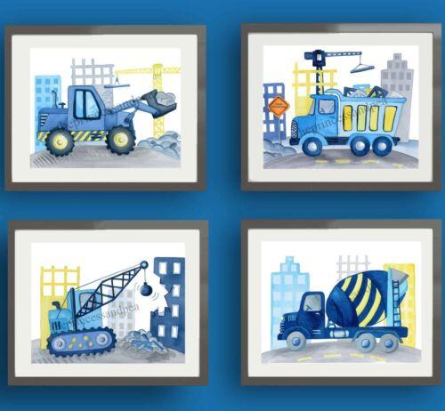construction trucks boy nursery art prints bedroom bedding wall decor 4 pictures