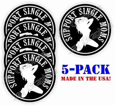 5-pack Funny Support Single Moms Hard Hat Stickers Welding Helmet Decals Labels