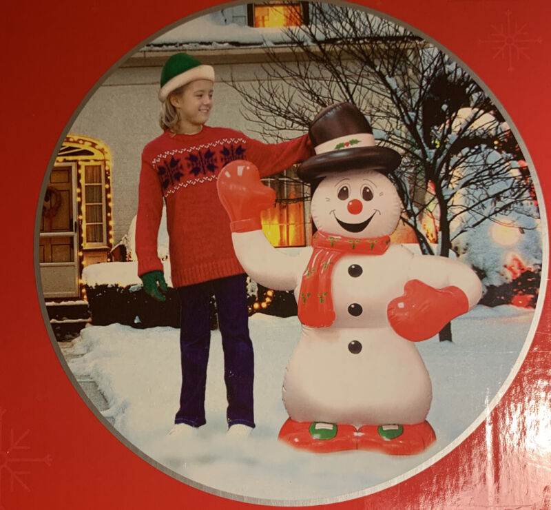"""Trim a Home 30"""" Inflatable Snowman.  Lights Up.  Indoor/Outdoor.  NEW"""