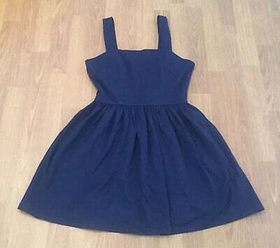 Aqua Juniors Tank Dress Size Large Blue Pleated Exposed Zipper Cinched -