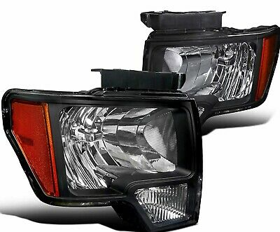 For Ford F150 2009-2014 Black OE Factory Style Lens Headlights Left Right Pair