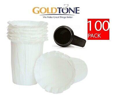 (100) Goldtone Organic Paper Filters All Keurig Carafe Coffee Makers + Scoop - Organic Coffee Filters