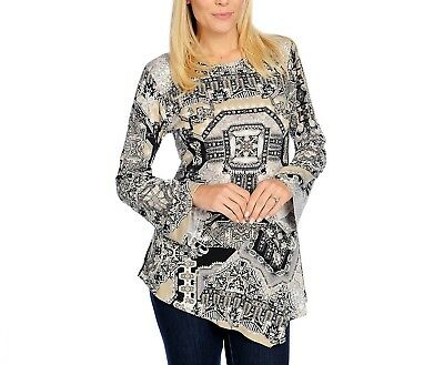 NEW One World Printed Micro Jersey Knit Long Bell Sleeve Embellished Tunic ()