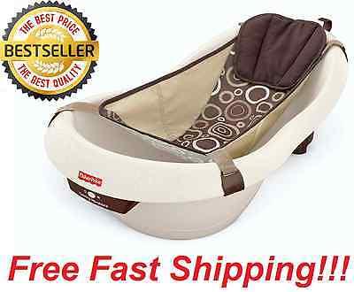 NEW Fisher Price Neutral Brown Calming Vibrations Baby Bath Tub Bathtub