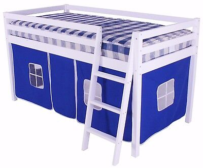 Mid Sleeper Cabin Bed loft Bunk with Tent Blue White Frame Shorty