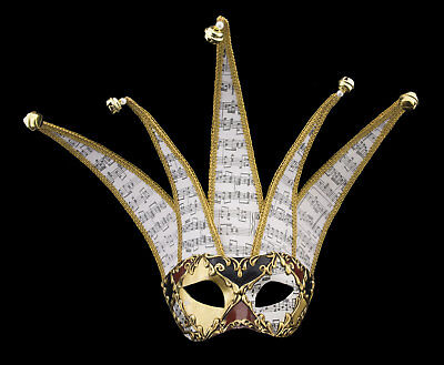Mask from Venice Colombine Jolly Musica Golden in 5 Spikes Paper Mache 22376