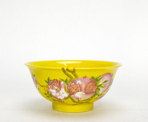 Chinese Famille Rose Enamel Pomegranate Longevity Yellow Glazed Porcelain Bowl