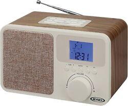 Jensen JCR-315 Digital AM/FM Dual Alarm Clock Radio with Wood Cabinet