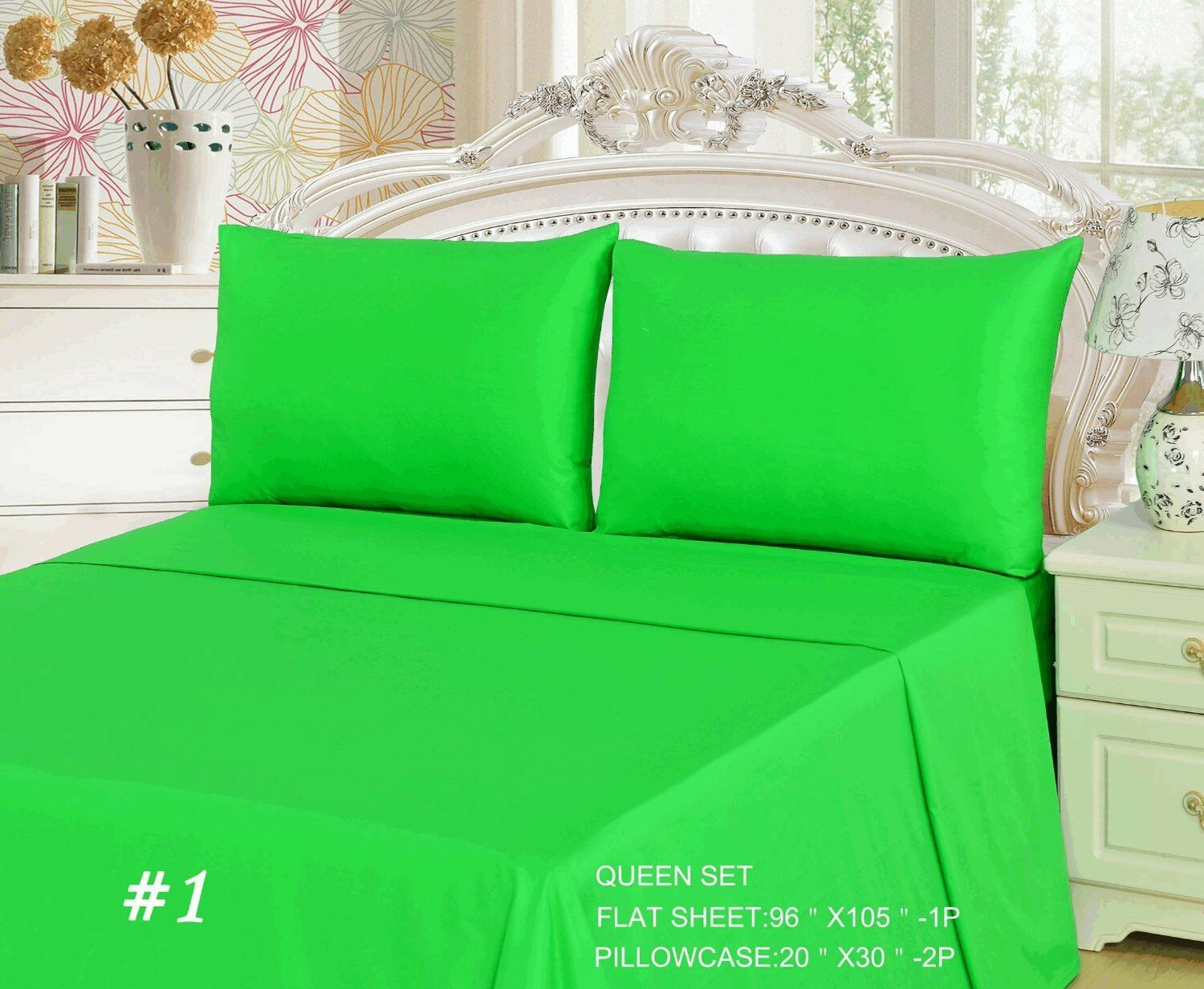 Tache 3-2 Piece 100% Cotton Solid Spring Lime Green Top Flat