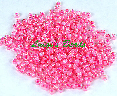 (11/0 TOHO Treasures Japan Glass Seed Beads #191C- Crystal/Hot Pink Lined 5g)