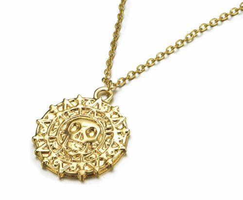 Pirates Of The Caribbean Movies Cursed Aztec Coin Medallion Necklace Gold