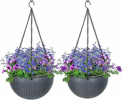Vivosun 2 Pcs Hanging Planter Self Watering Hanging Basket Flower Plant Pot Grey