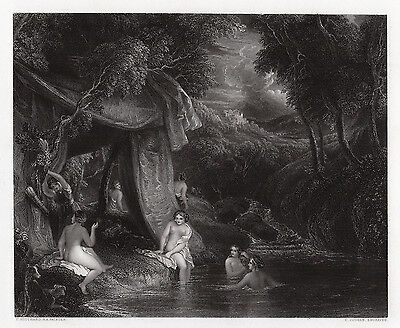 "Stunning 1800s Thomas STOTHARD Engraving ""Mysterious Bathers"" SIGNED Framed COA"