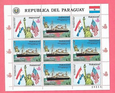 Paraguay Sc 2179 Nh Minisheet Of 1986   Ship   Statue Of Liberty