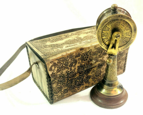 """Maritime Nautical Antique Brass Ship Telegraph 6"""" Engine Order with Leather Box"""
