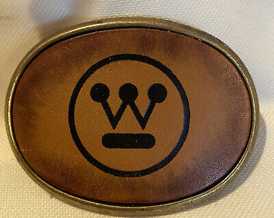 NOS VINTAGE WESTINGHOUSE ELECTRIC CORP BRASS & LEATHER BELT