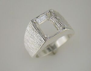 mens emerald cut inset ring setting sterling silver