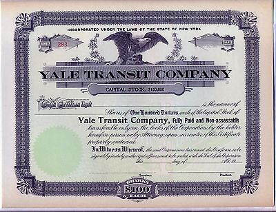 Yale Transit Company Stock Certificate Steamboat Shipping Great Lakes