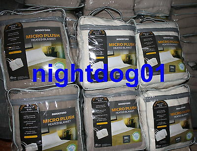 Biddeford Electric Heated Plush Blanket King/queen -dual Control Twin-single Nip