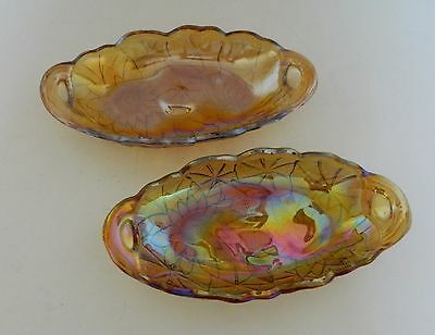 Indiana Glass Lily Pons Pickle Dish Iridescent Carnival Glass Closed Handled Two
