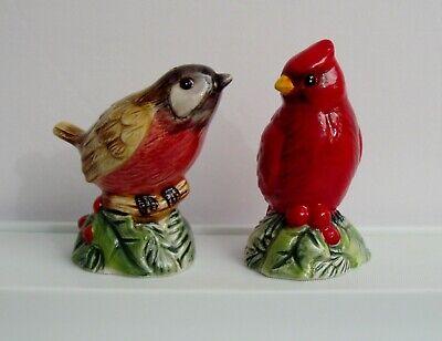 Fitz Floyd Christmas Santa's Forest Friends Salt Pepper Shakers Red Brown Bird  (Floyd Christmas Santa)