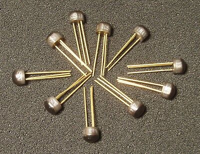 Qty 10 Vintage 2n4970 Transistor Fuzz Gold Leads 1974 Date Code Silicon Npn Nos