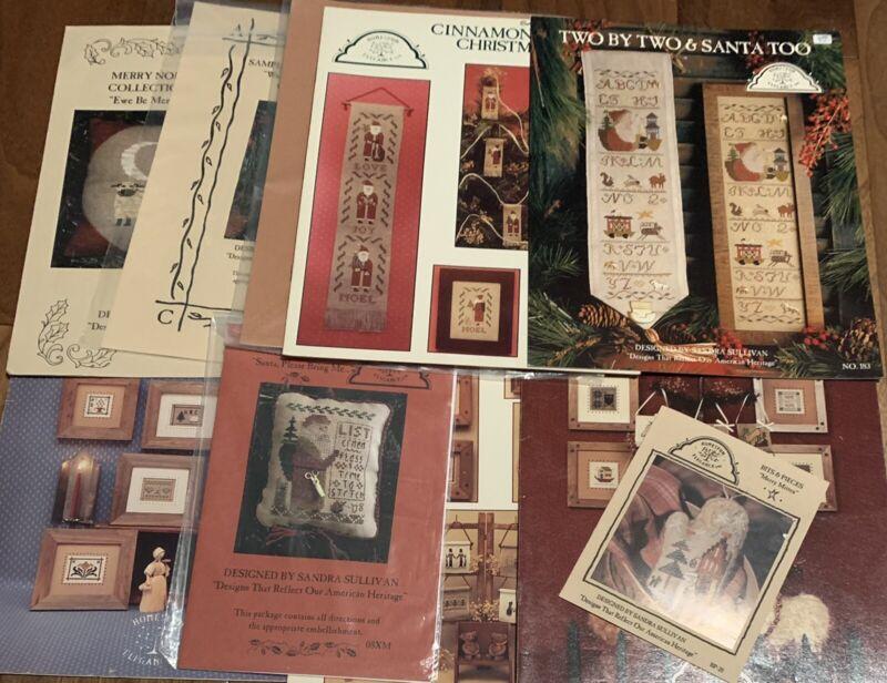 10 Homespun Elegance (#1) Christmas Cross Stitch Leaflets Destash Lot Ornaments