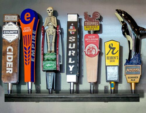 BLACK FINISH WALL MOUNTED 7 BEER TAP HANDLE DISPLAY HOLDS 7 INCLUDES BRACKETS