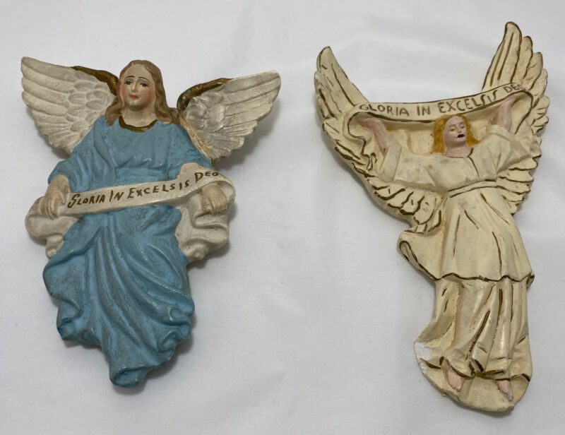 2 Chalkware Angels Nativity Piece Gloria in Excelsis Deo Vintage DAMAGE Germany