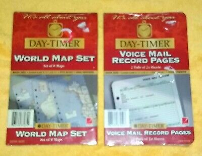 Day-timer Refill Lot Voice Mail Record And World Map Pages 7 Ring 8.5 X 5.5