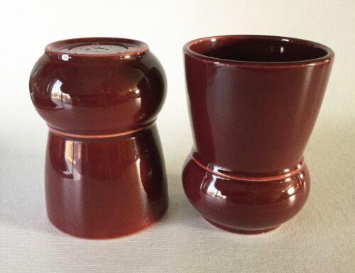 2 htf Vernon Kilns EARLY / ULTRA California Pottery Bulbous Tumbler s MAROON Red