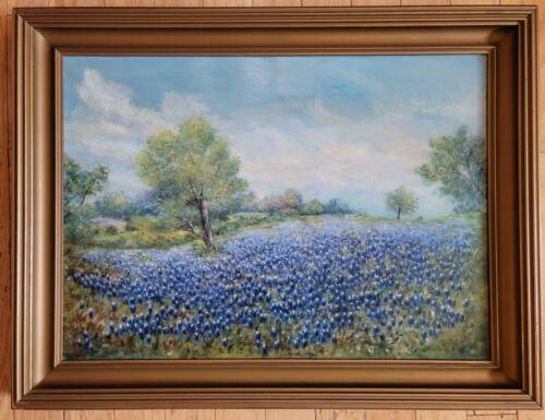 Antique Original Texas Bluebonnet Landscape Oil on Canvas ☆ Signed RL Wansbrough