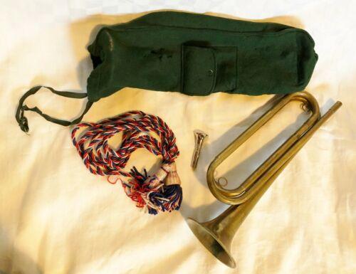 Vintage Military Brass Bugle w/Felt Bag, Mouth Piece & Tassel