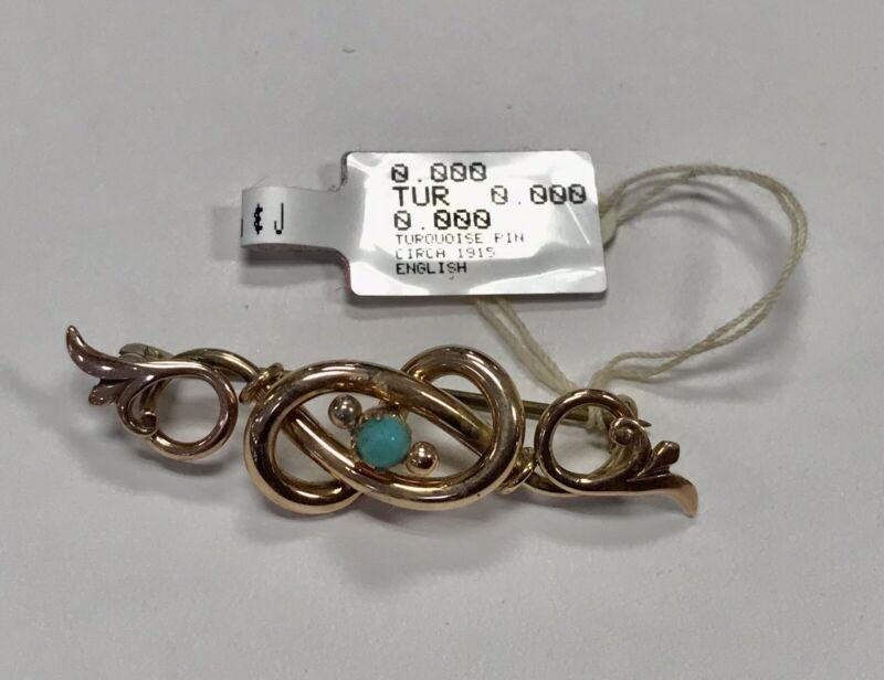 """Estate Turquoise Pin  9Kt Rose Gold 3.3 Grams, 1.75"""" English  Circa 1915"""