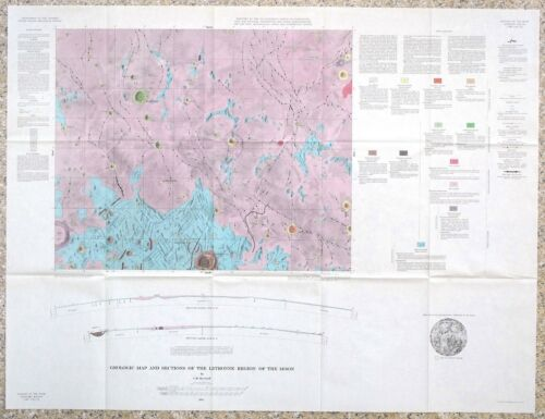 USGS APOLLO HISTORIC LETRONNE REGION LUNAR GEOLOGIC MAP, 1963, I-385, SURVEYOR 1